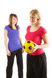 Two sportive girls royalty free stock photo
