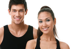 Two sportive people in black sportswear Stock Photo