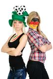 Two sports fans with pained faces Royalty Free Stock Photo