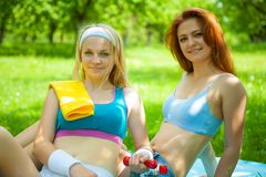 Two sports girl after training Royalty Free Stock Photo