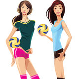 Two sports girl with volleyballs Royalty Free Stock Photos