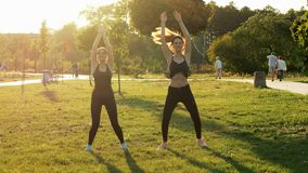 Two sports girls training together in sunny park. Doing fitness, aerobics and stretching exercises, healthy and sporty stock video footage