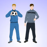 Two sports man with a soccer ball Royalty Free Stock Images
