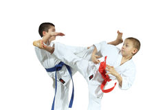 Two sportsman are training beat high kicks Stock Photography