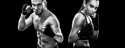 Two sportsmans boxers on black background. Copy Space. Sport concept. Stock Images