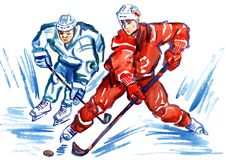 Two sportsmen hockey players fighting for the puck at high speed vector illustration