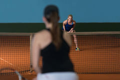 Two Sporty Female Tennis Players Enjoying A Game Royalty Free Stock Photos