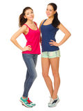 Two sporty girls isolated Royalty Free Stock Photos