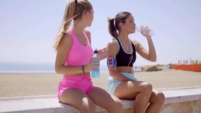 Two sporty young women pausing for a drink. Of bottled water sitting on a low wall overlooking a beach and the ocean stock footage