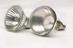 Two spot light bulb Stock Image