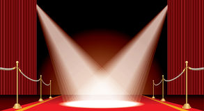 Two spot on red carpet. Vector opened red curtain stage with red carpet, golden fence and two spotlights, show business and entertainment horizontal background vector illustration