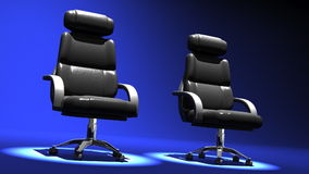 Two Spotlighted Business Chairs On Blue Background stock video