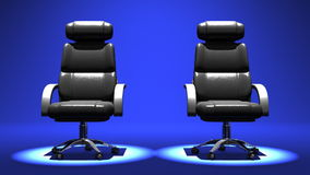 Two Spotlighted Business Chairs On Blue Background stock video footage