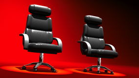 Two Spotlighted Business Chairs On Red Background. 3D render Animation For Business scene stock footage