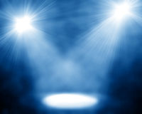 Two spotlights. On blue background Stock Image