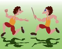 Relay Race on the field. Two sprinters running in a relay race Stock Image