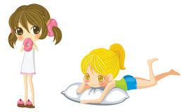Two sprite girl set, create by vector Stock Photo