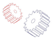 Two spur gears Royalty Free Stock Images