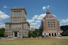 Two square buildings. Two government building in Asheville North Carolina during the summer Stock Image