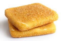 Two square golden fried cheeses Stock Photography