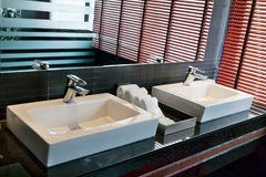 Two square sink in the bathroom Royalty Free Stock Images