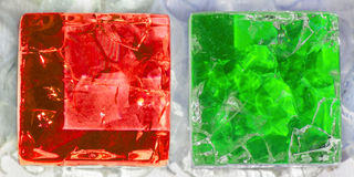 Two squares of cracked glass Stock Photos