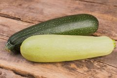 Two squash vegetable marrow zucchini. Close up. Old vintage wooden desk background royalty free stock image