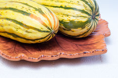 Two squashes on a plate Stock Photos