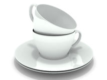 Two stacked coffee cups on white. 3d stock illustration