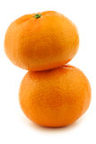 Two stacked fresh tangerines Royalty Free Stock Photos