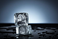 Two stacked ice cubes Royalty Free Stock Images