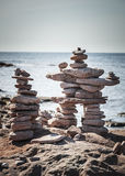 Two stacked stone cairns Royalty Free Stock Images