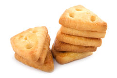 Two stacks of cheese cookies Stock Images