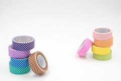 Two Stacks of Colorful Washi Tape on White Background. Horizontal Royalty Free Stock Photo