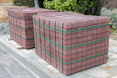 Two stacks of concrete pavement tiles Royalty Free Stock Photography