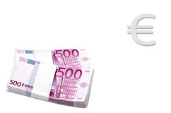 Two Stacks of 500 Euro Banknotes Stock Image