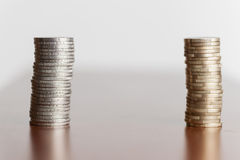 Two stacks euro coins Royalty Free Stock Image