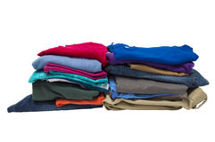 Two Stacks Of Folded Clothes Isolated On White Stock Images