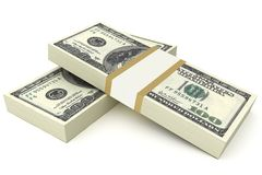 Two stacks of hundred dollar bills Stock Image