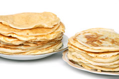 Two stacks of pancakes Stock Photography