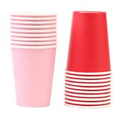 Two stacks of paper cups. Royalty Free Stock Photos