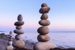 Two stacks of pebbles Royalty Free Stock Photo