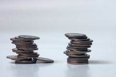 Two stacks of quarters. Money Royalty Free Stock Photography