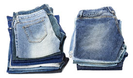 Isolated Jeans Stacks Stock Images