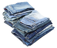 Isolated Jeans Stacks Royalty Free Stock Photos
