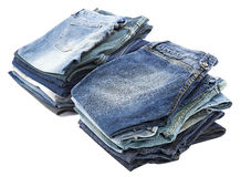 Isolated Jeans Stacks Royalty Free Stock Images