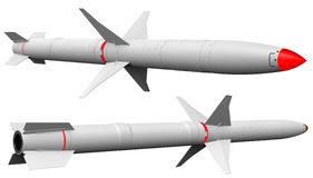 Two stage missile, rocket with fins Royalty Free Stock Image