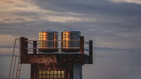 Two stain steel water tanks on roof deck Stock Photo
