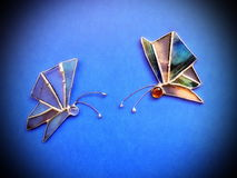 Two stained glass butterflies Royalty Free Stock Image