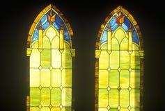Two Stained Glass Windows in Church, Kauai, Hawaii Royalty Free Stock Photos